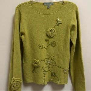 One Girl Who sweater chartreuse pullover knitted L